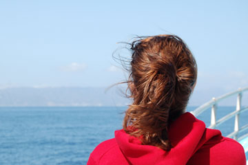 girl on Catalina Island ferry, California